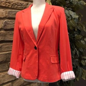 Stylish blazer soft pop of color pinstriped lined